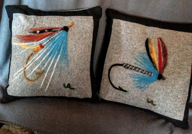 Wool felted fly pillows